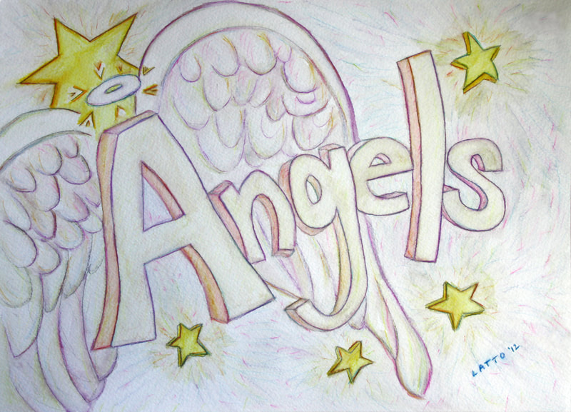 Angels Word Art Inspirational Painting