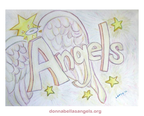 Angels Word Art Inspirational Watercolor Painting