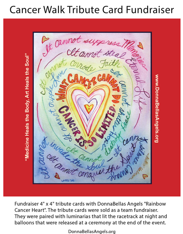 Cancer Walk Tribute Cards Fundraiser with art donated by DonnaBellas Angels