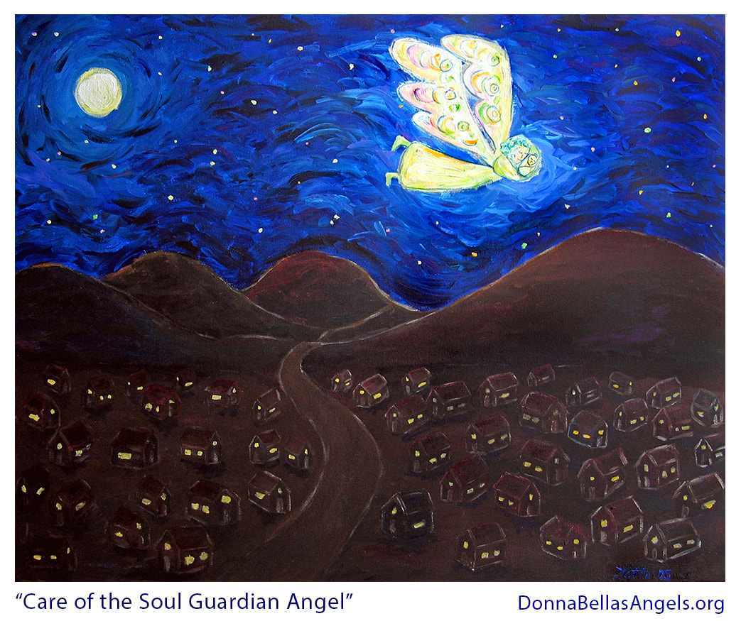 Care of the Soul White Light Guardian Angel and Baby Art Painting