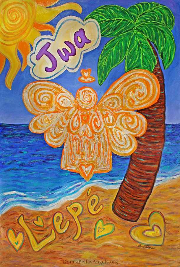 Creole Caribbean Beach Angel Art Painting