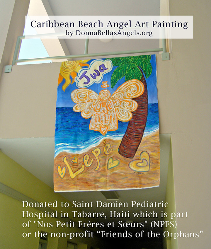 Caribbean Beach Angel Art Painting at Saint Damien Pediatric Hospital in Tabarre, Haiti
