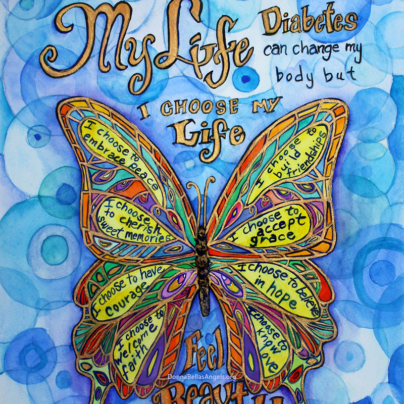 Diabetes My Life Poem Rainbow Butterfly Art Watercolor Painting