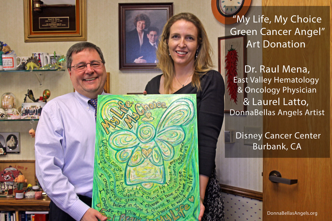 Green Cancer Angel painting donated to the Disney Cancer Center