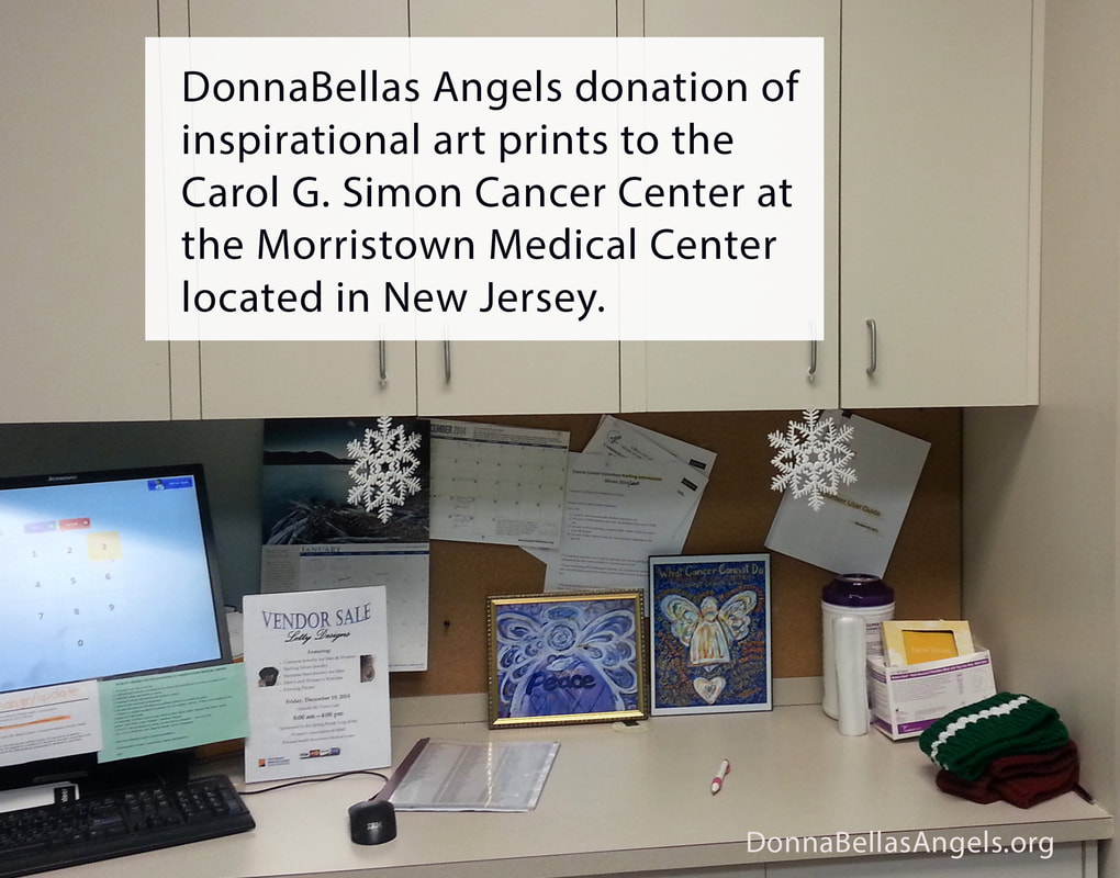 DonnaBellas Angels art donation to the Carol G. Simon Cancer Center at Morristown Medical Center in New Jersey.