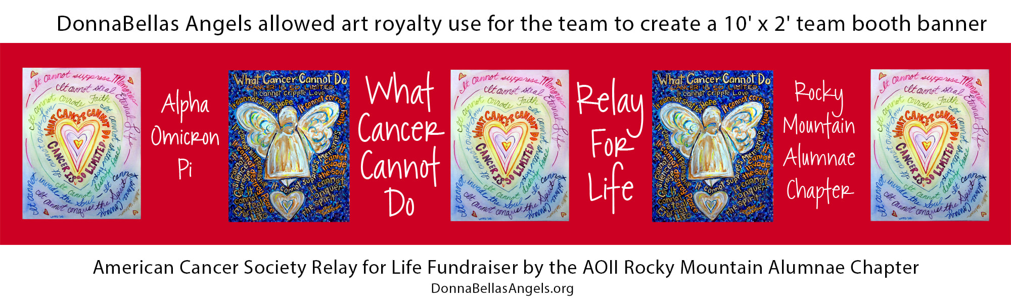DonnaBellas Angels art donation for booth banner & luminaria tribute cards for Relay for Life cancer fundraiser by AOII Rocky Mountain Alumnae Chapter