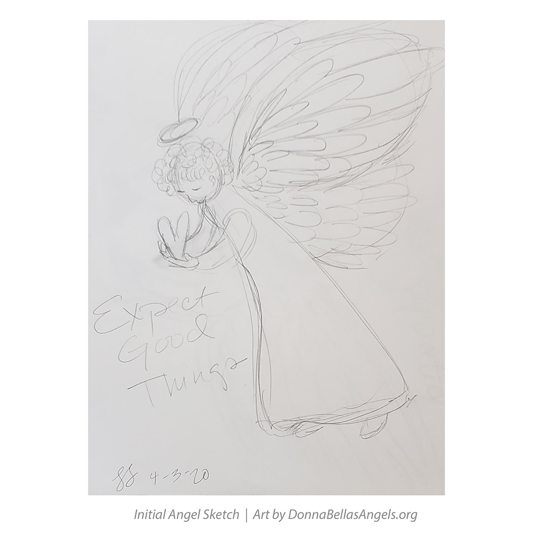 Pencil Sketch Expect Good Things Guardian Angel Art Painting Picture