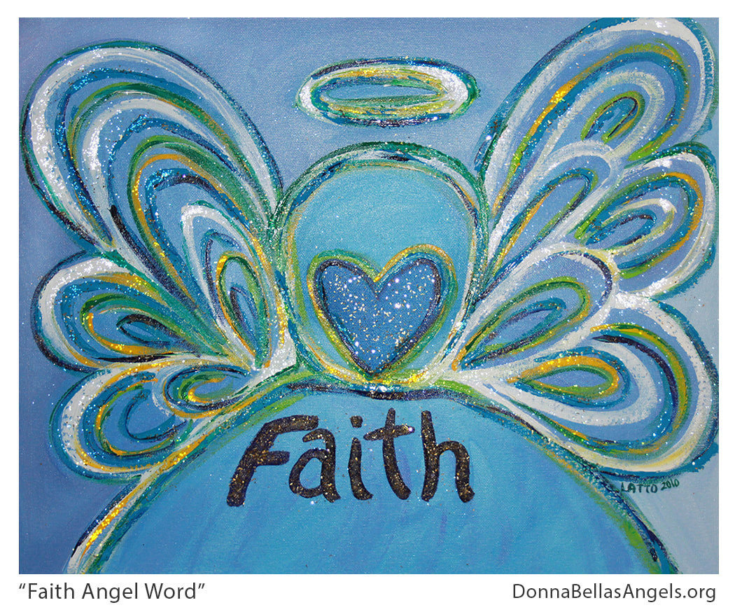 Faith Guardian Angel Word Art Inspirational Painting Picture