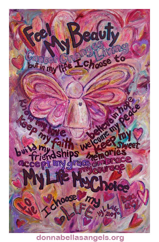 Pink Angel Feel My Beauty Cancer Poem Art Painting