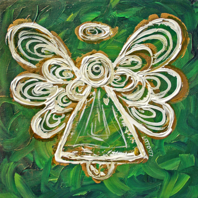 Green Guardian Angel Art Painting