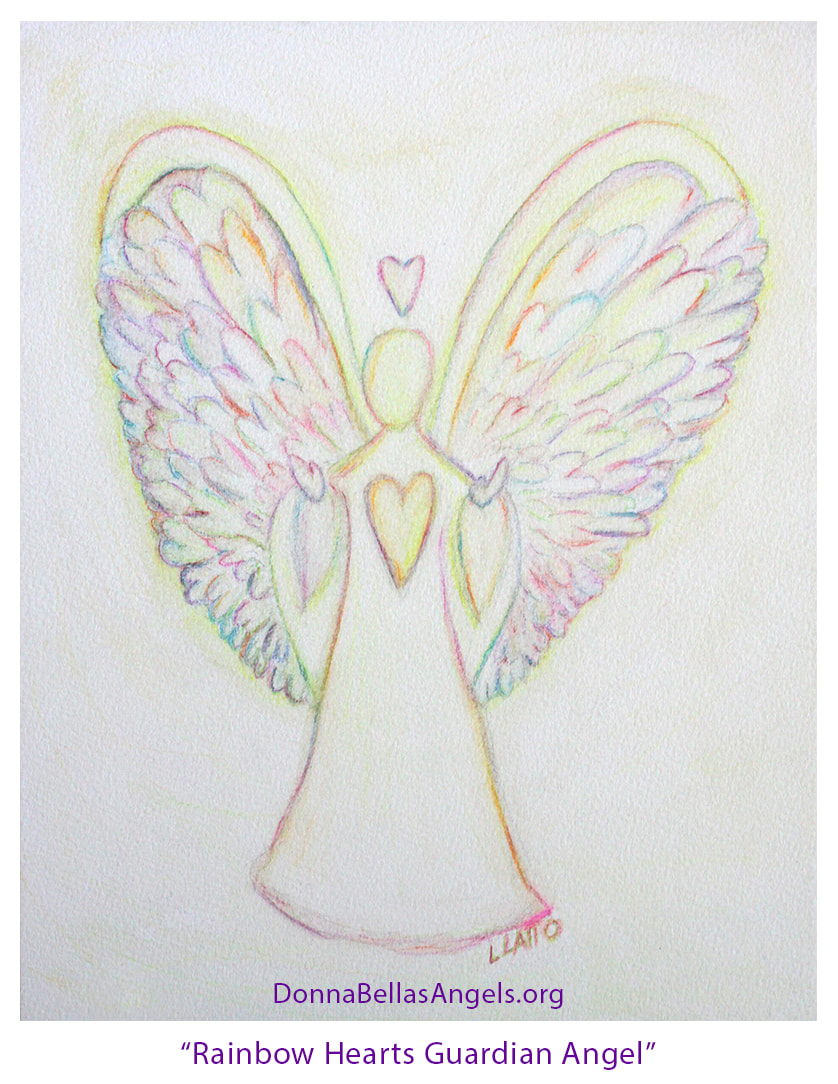 ​Rainbow Hearts Guardian Angel Watercolor Art Painting