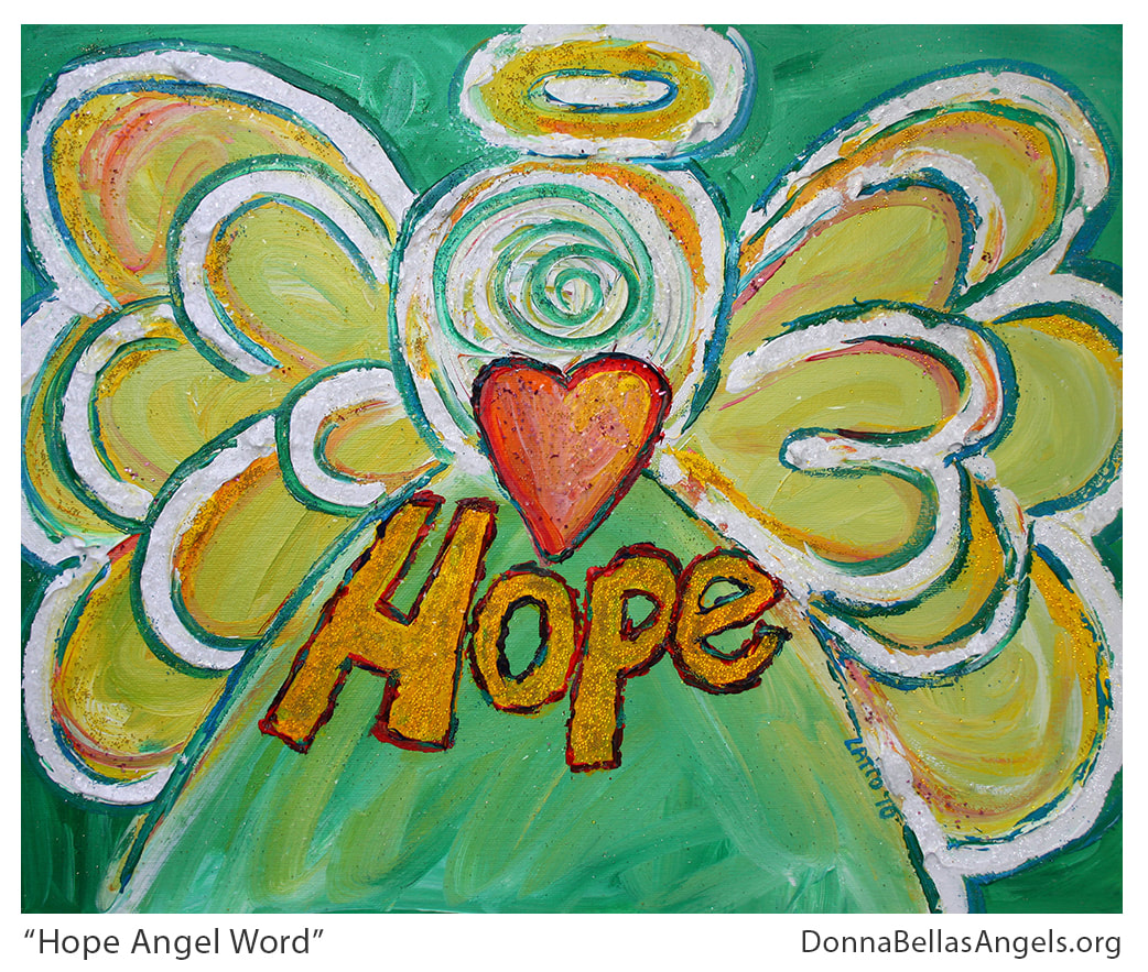 Hope Guardian Angel Word Art Inspirational Painting Picture