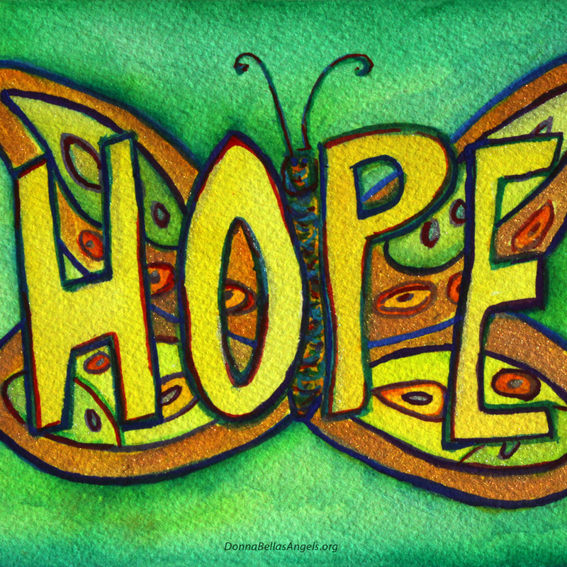 Hope Word Art Butterfly Painting
