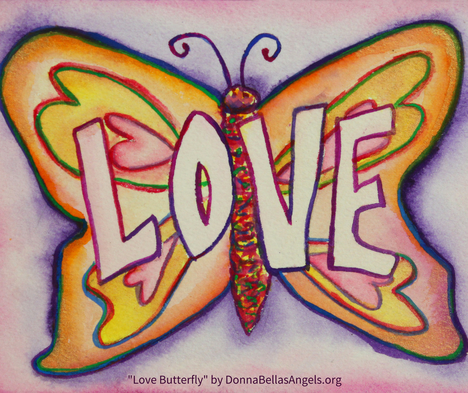Love Word Art Pink Butterfly Inspirational Art Painting
