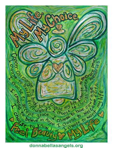 My Life, My Choice Green Cancer Angel Art Painting