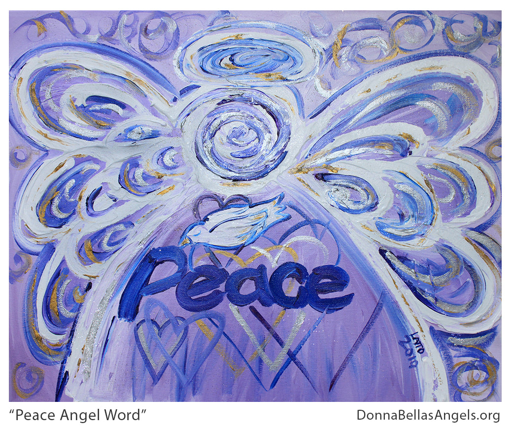 Peace Guardian Angel Word Art Inspirational Painting Picture