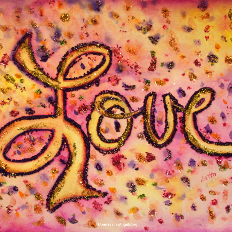 Pink Glamorous Love Word Art Glitter Painting