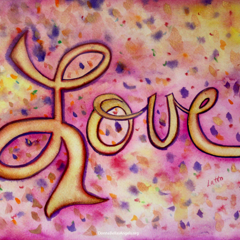Pink Glamorous Love Word Art Watercolor Painting