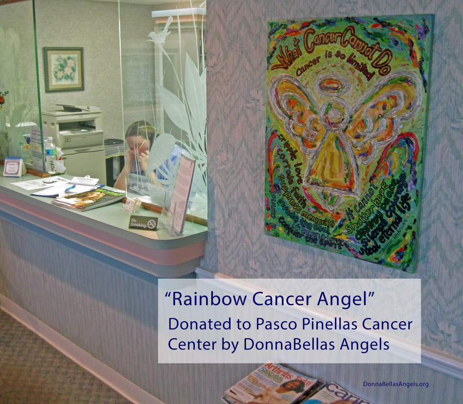 Rainbow Cancer Angel Painting Art Donation to the Pasco Pinellas Cancer Center