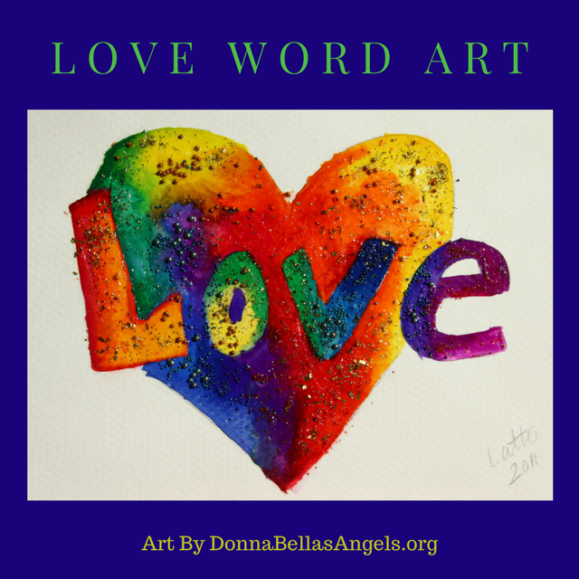Rainbow Glitter Heart Love Word Art