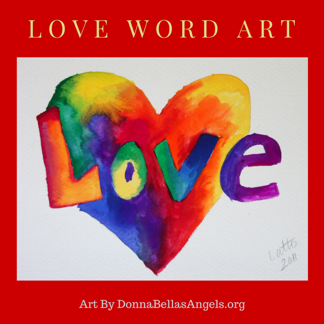 Rainbow Heart Love Word Art Inspirational Painting