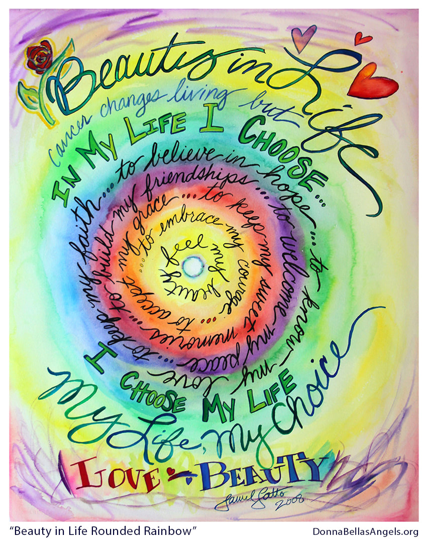 Beauty in Life Rounded Rainbow Cancer Poem Art Painting Picture