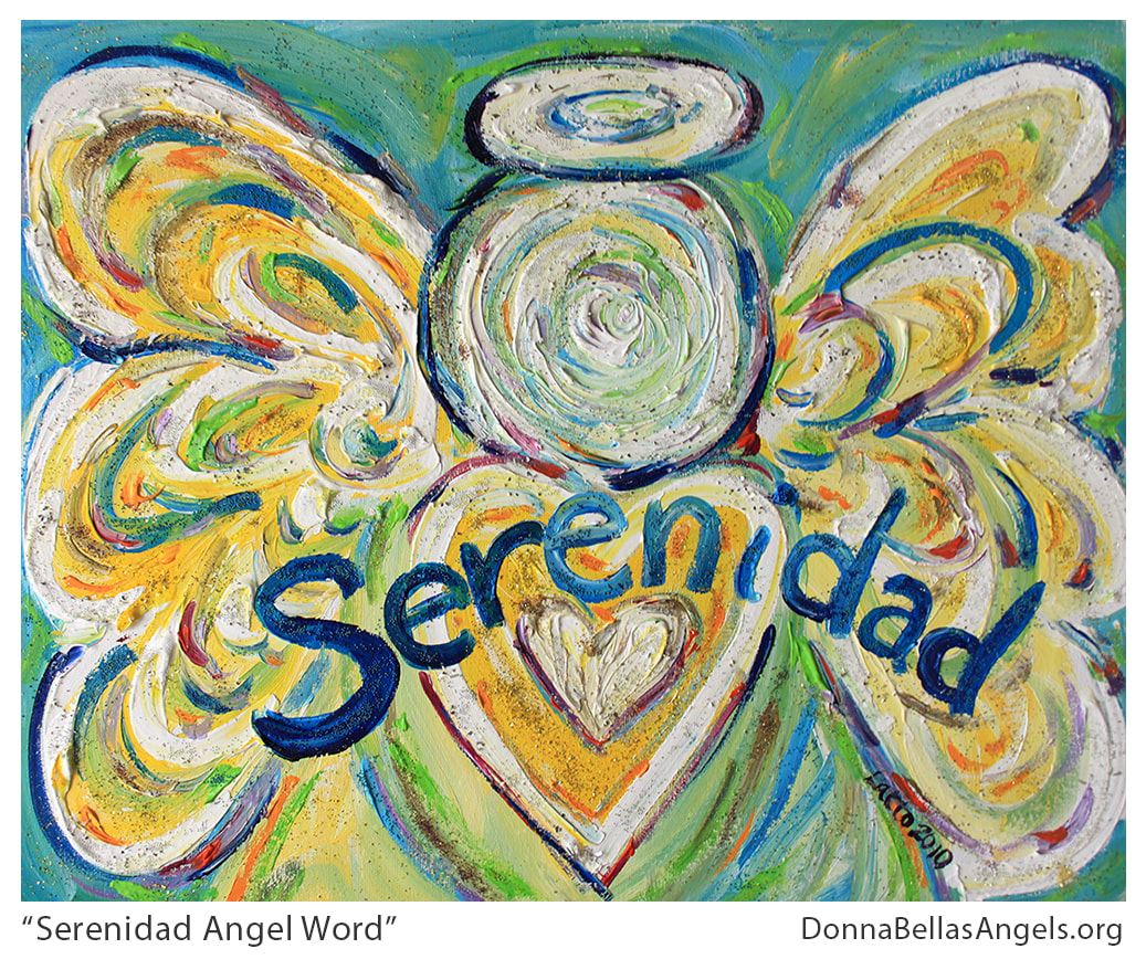 Serenidad Guardian Angel Word Art Inspirational Painting Picture
