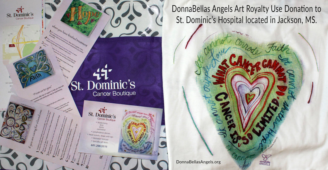 DonnaBellas Angels Cancer Art Royalty Use Donation to St. Dominic's Hospital in Jackson, MS
