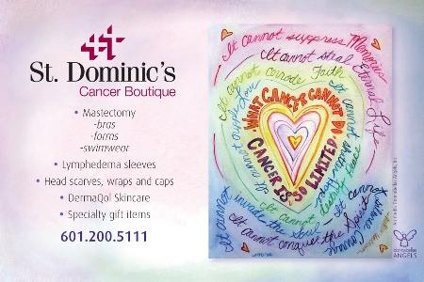 DonnaBellas Angels Cancer Art Royalty Use Donation to St. Dominic's Hospital in Jackson, MS.