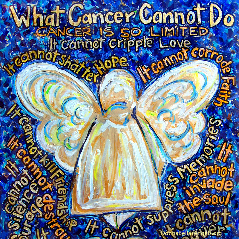 Blue and Gold Angel What Cancer Cannot Do Poem Art Painting