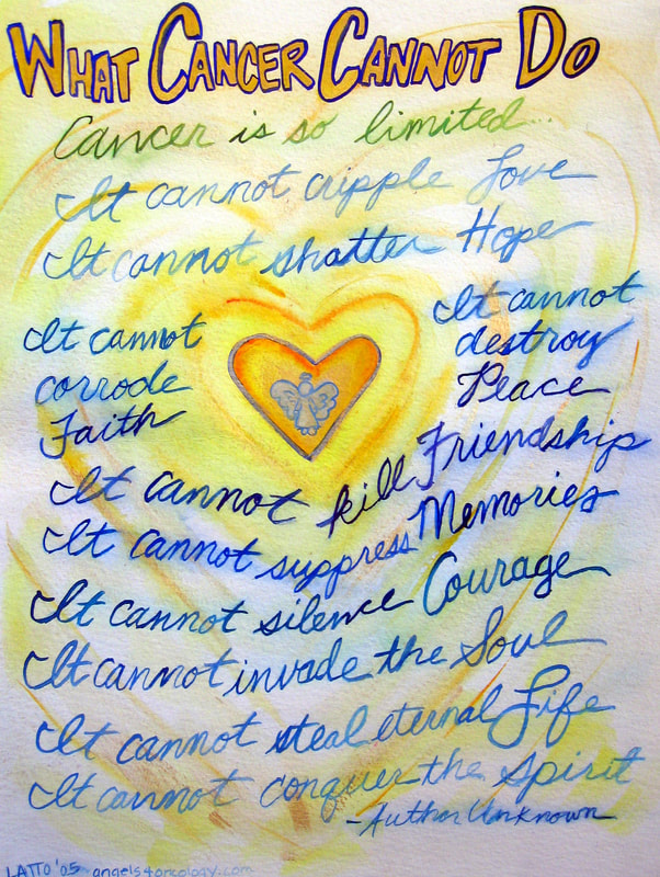 Blue & Gold Heart Angel What Cancer Cannot Do Poem Art Painting