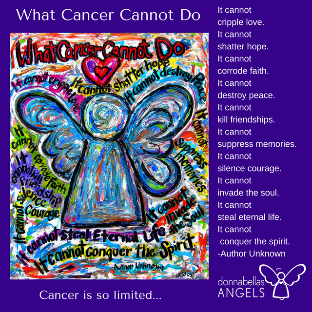 Colorful Guardian Angel What Cancer Cannot Do Poem Art Painting - Purple